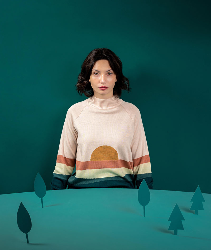 jersey de lana merina paisaje rosa