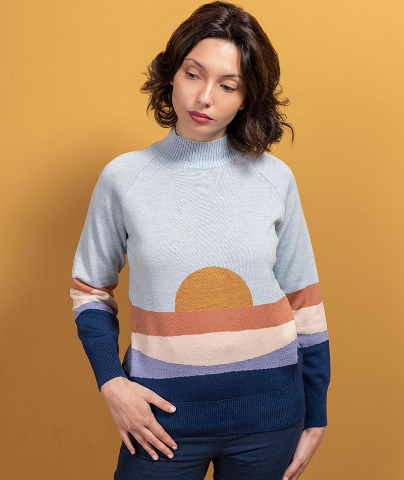 jersey de lana merina atardecer