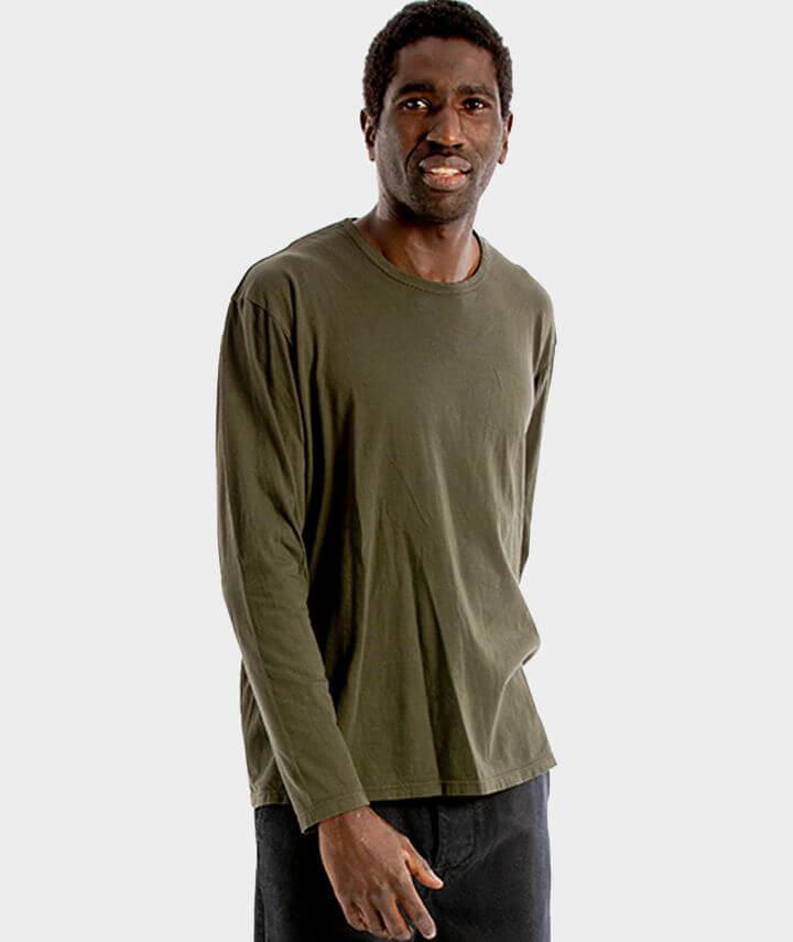 camiseta algodon organico manga larga color caqui