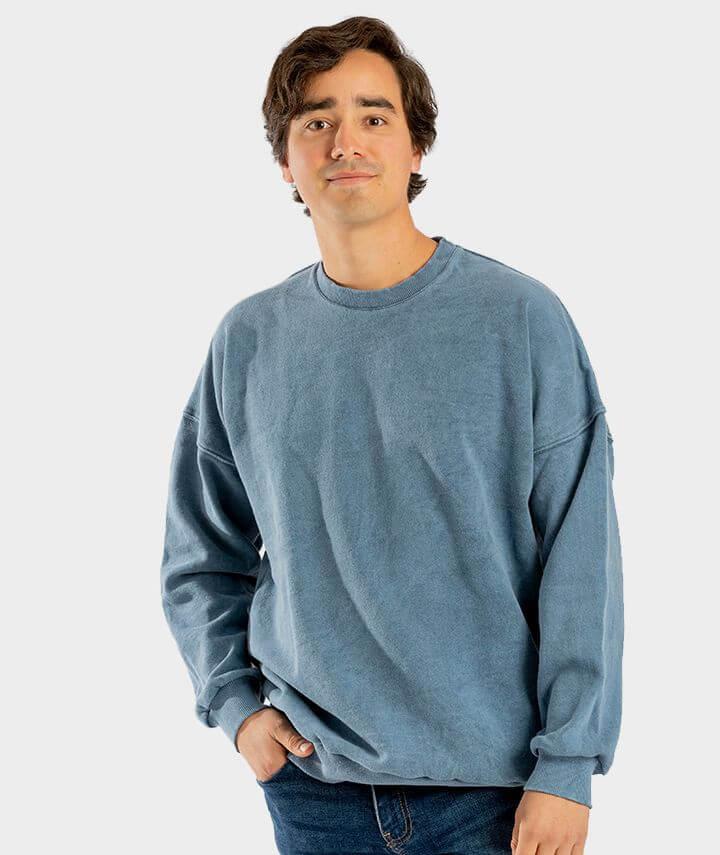 sudadera algodón orgánico azul hecha en españa