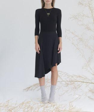 falda negra tejido reciclado refibra