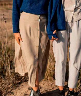 falda larga con botones hecha en España