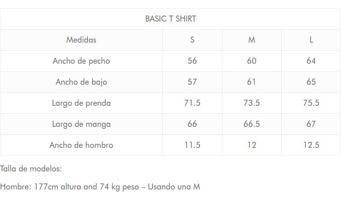 guia de tallas camiseta manga larga