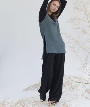 pantalón negro de tencel de mujer