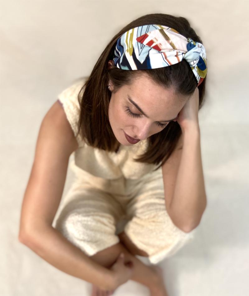 turbante estampado hecho a mano en Barcelona