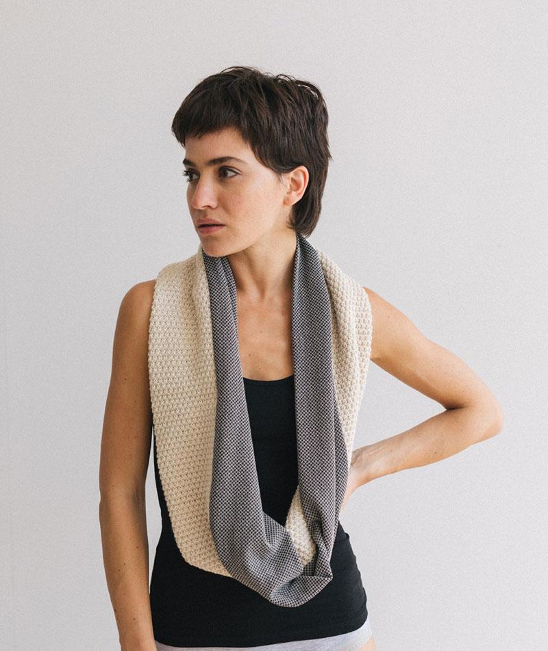 bufanda tubular de tricot hecha en España