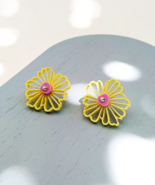 pendientes flor amarillos hechos en españa