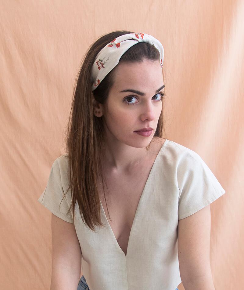 turbante de lino hecho a mano en España