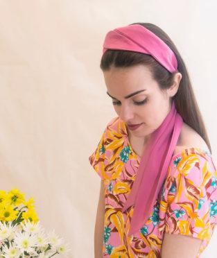 turbante con lazada rosa