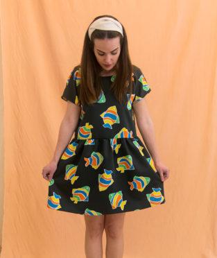 vestido hecho en españa con tejido vintage años 80