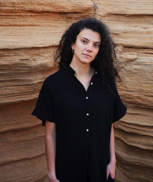vestido negro 100% algodón orgánico con certificado GOTS