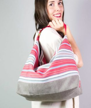 Red striped bag made in Bilbao with an old fabric