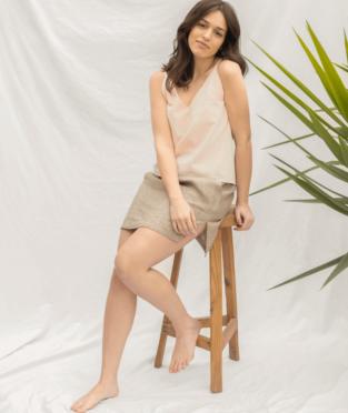 minifalda de lino orgánico fabricada en españa