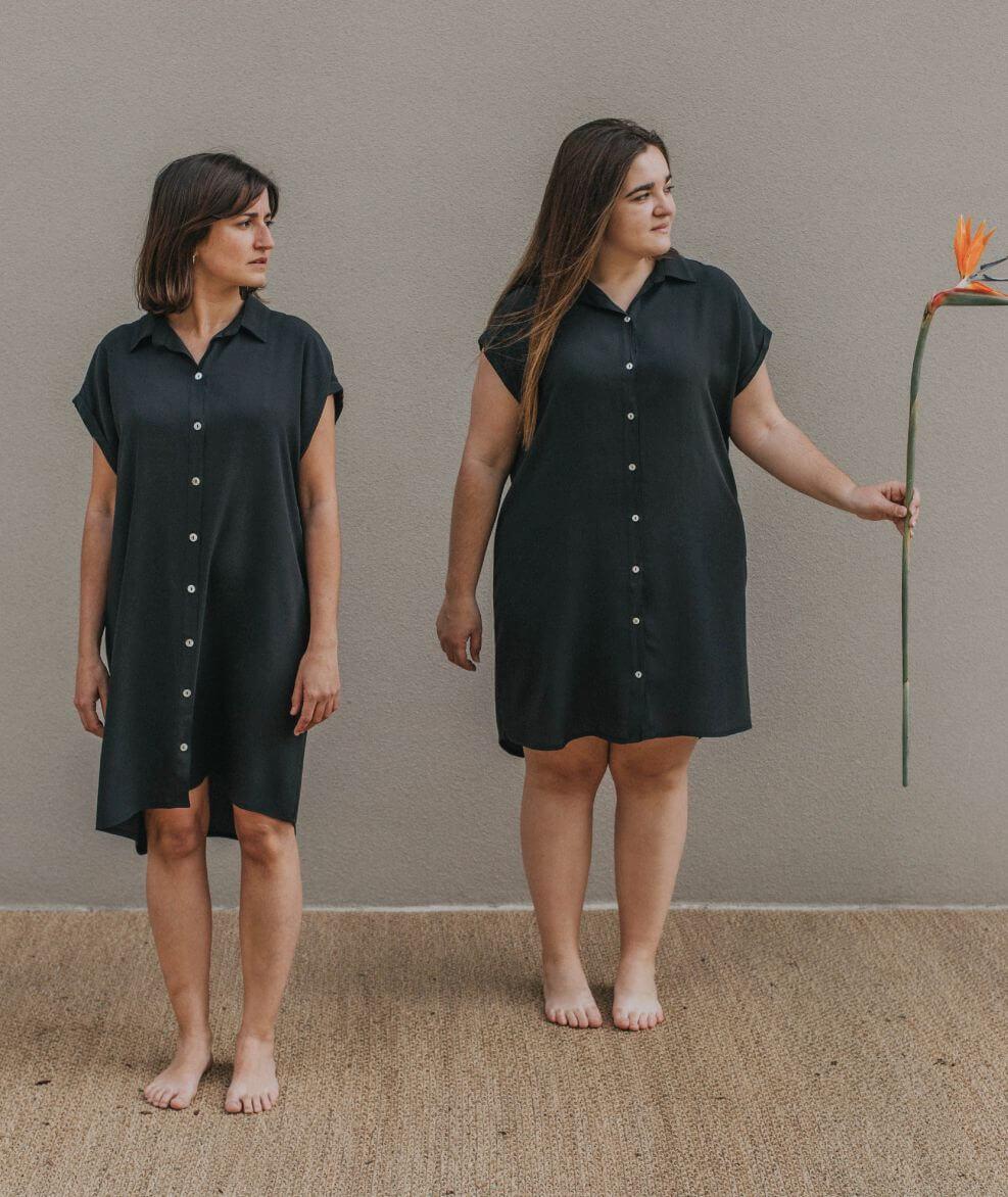vestido negro básico de viscosa hecho en España