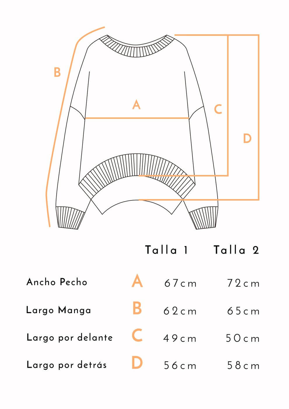 guía de tallas jersey lana merina