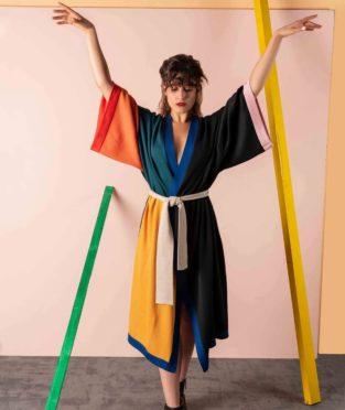 kimono lana merino hecho en españa crisálida