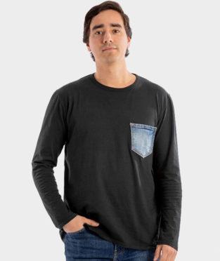 camiseta manga larga algodón orgánico negra