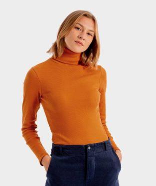 camiseta de cuello cisne 100% algodón orgánico color naranja