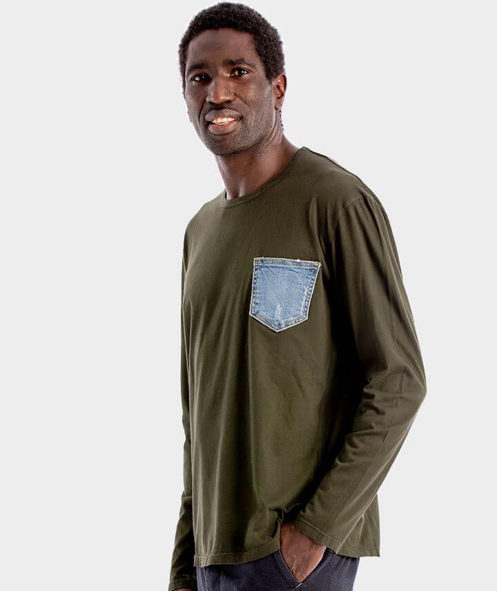 camiseta verde bolsillo 100% algodón orgánico