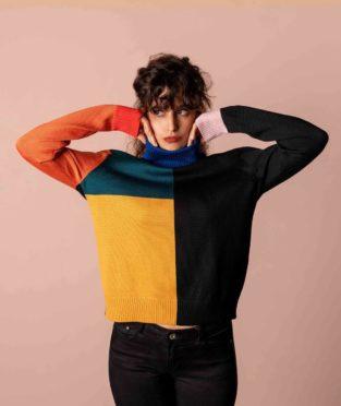 jersey de lana merina negro y de colores malevich crisálida